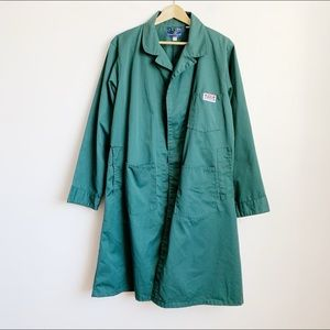 muted teal green industrial chore jacket